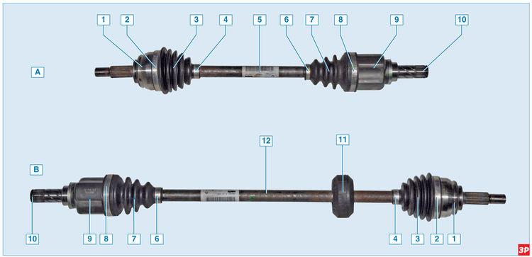 Приводы левого «А» и правого «В» колес Lada Largus